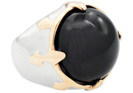 Mens Genuine Onyx And Rose Plated Stainless Steel Ring - Blackjack Jewelry