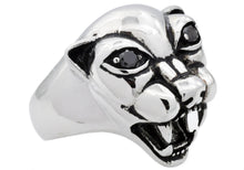 Load image into Gallery viewer, Mens Stainless Steel Panther Ring With Black Cubic Zirconia - Blackjack Jewelry