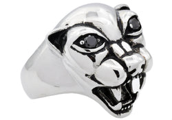 Mens Stainless Steel Panther Ring With Black Cubic Zirconia - Blackjack Jewelry
