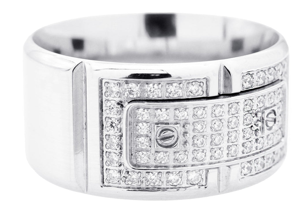 Mens Stainless Steel Ring With Cubic Zirconia - Blackjack Jewelry