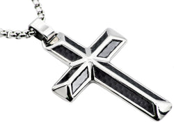 Mens Carbon Fiber Stainless Steel Cross Pendant