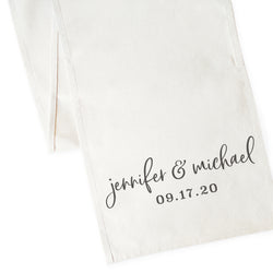 Personalized Name and Date Canvas Table Runner - The Cotton and Canvas Co.