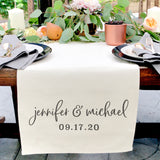 Personalized Name and Date Cotton Canvas Table Runner - The Cotton and Canvas Co.