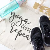Yoga, Coffee and Repeat Gym Cotton Canvas Tote Bag - The Cotton and Canvas Co.