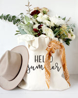 Hello Summer Cotton Canvas Tote Bag - The Cotton and Canvas Co.