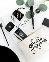 Hello Gorgeous Cotton Canvas Cosmetic Bag - The Cotton and Canvas Co.