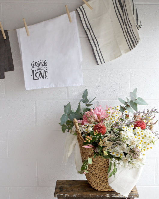 Sprinkle With Love Kitchen Tea Towel The Cotton And Canvas Co