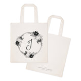 Personalized Monogram Floral Cotton Canvas Tote Bag - The Cotton and Canvas Co.