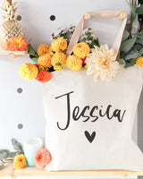 Personalized Heart Name Cotton Canvas Tote Bag - The Cotton and Canvas Co.