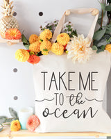 Take Me to the Ocean Cotton Canvas Tote Bag