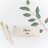 Personalized Name Floral Cotton Canvas Pencil Case and Travel Pouch