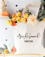 Bridesmaid Personalized Wedding Cotton Canvas Tote Bag - The Cotton and Canvas Co.