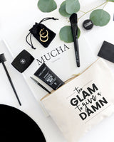 Too Glam to Give a Damn Cotton Canvas Cosmetic Bag - The Cotton and Canvas Co.