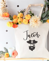 Personalized Name Pirate Cotton Canvas Tote Bag