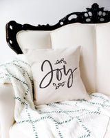 Joy Christmas Holiday Pillow Cover - The Cotton and Canvas Co.