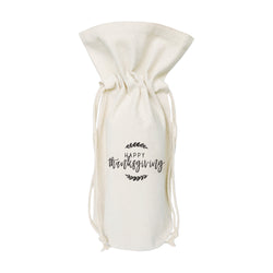 Happy Thanksgiving Canvas Wine Bag - The Cotton and Canvas Co.