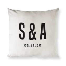 Personalized Couple Monogram and Date Pillow Cover - The Cotton and Canvas Co.