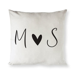 Personalized Couple Monogram with Heart Pillow Cover - The Cotton and Canvas Co.