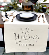 Personalized Last Name Christmas Canvas Table Runner