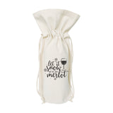 Let It Snow, We've Got Merlot Christmas Canvas Wine Bag - The Cotton and Canvas Co.