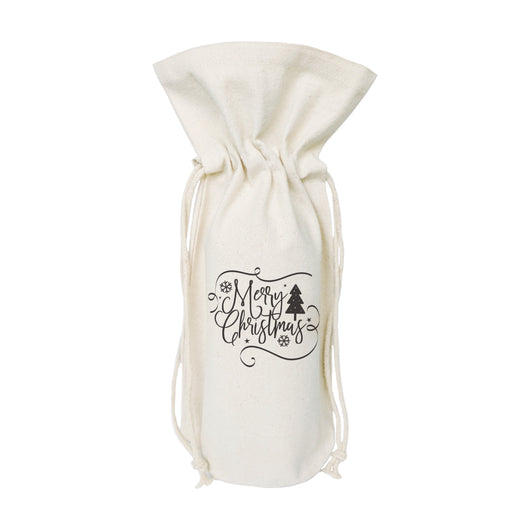 Merry Christmas Cotton Canvas Wine Bag - The Cotton and Canvas Co.