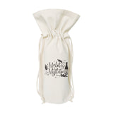 Merlot and Mistletoe Christmas Cotton Canvas Wine Bag - The Cotton and Canvas Co.