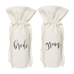 Bride and Groom Cotton Canvas Wine Bag 2-Pack - The Cotton and Canvas Co.