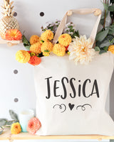 Personalized Name with Mini Heart Cotton Canvas Tote Bag