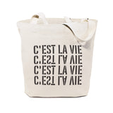 C'est La Vie Cotton Canvas Tote Bag - The Cotton and Canvas Co.