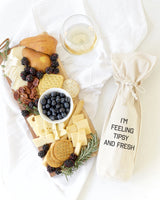 I'm Feeling Tipsy and Fresh Cotton Canvas Wine Bag - The Cotton and Canvas Co.