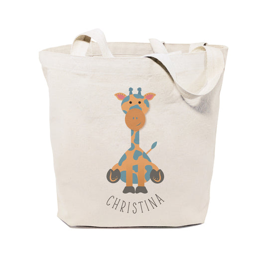 Giraffe Personalized Cotton Canvas Tote Bag - The Cotton and Canvas Co.