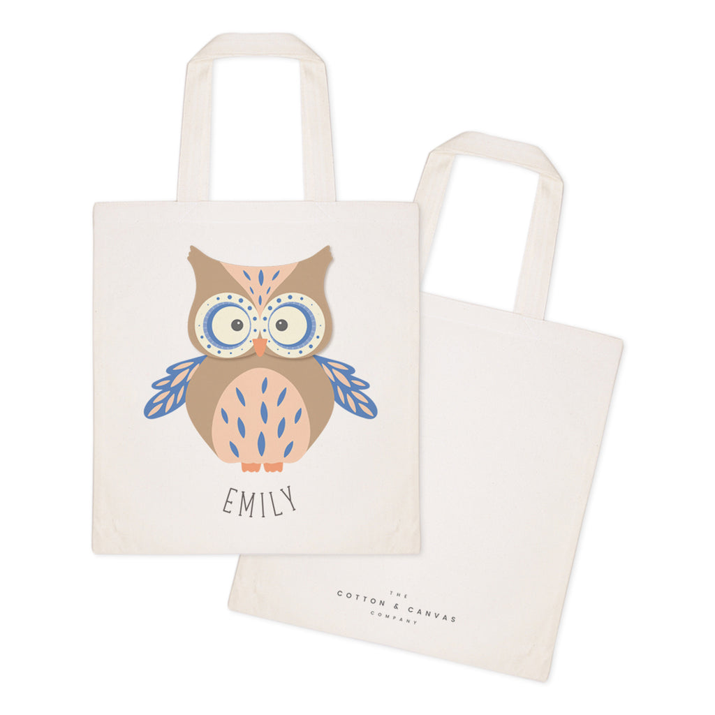 Owl Personalized Cotton Canvas Tote Bag The Cotton And