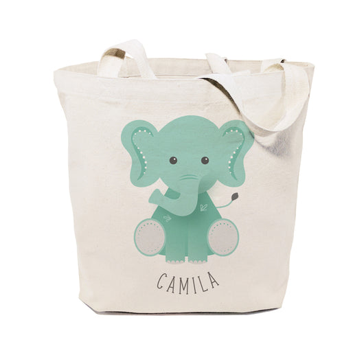 Elephant Personalized Cotton Canvas Tote Bag - The Cotton and Canvas Co.
