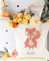 Personalized Name Fox Cotton Canvas Tote Bag - The Cotton and Canvas Co.