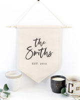 Personalized Family Name with Est. Date Classic Hanging Wall Banner - The Cotton and Canvas Co.