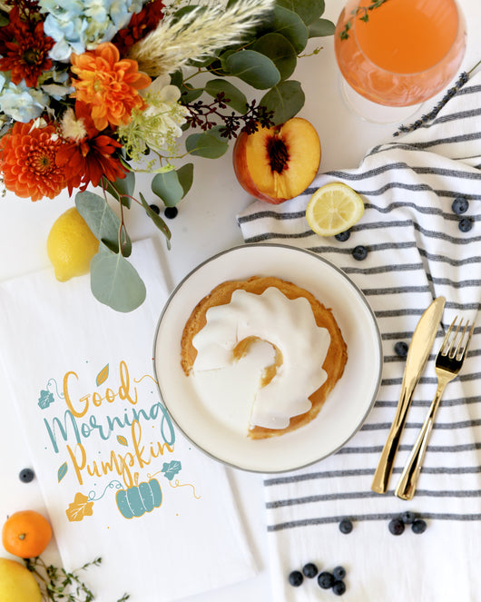 Good Morning Pumpkin Kitchen Tea Towel The Cotton And Canvas Co