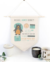 Personalized Bear Newborn Baby Announcement Hanging Wall Banner - The Cotton and Canvas Co.