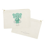 Personalized Name Elephant Cotton Canvas Cosmetic Bag - The Cotton and Canvas Co.