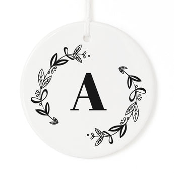 Personalized Monogram with Wreath Christmas Ornament