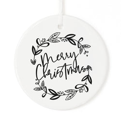 Merry Christmas with Wreath Christmas Ornament - The Cotton and Canvas Co.