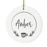 Personalized Name with Coffee Mug Christmas Ornament