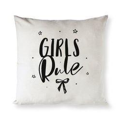 Girls Rule Baby Cotton Canvas Pillow Cover - The Cotton and Canvas Co.