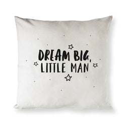 Dream Big Little Man Baby Cotton Canvas Pillow Cover - The Cotton and Canvas Co.