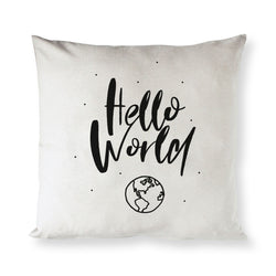 Hello World Baby Cotton Canvas Pillow Cover - The Cotton and Canvas Co.