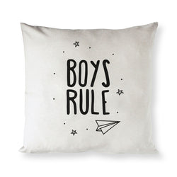 Boys Rule Baby Cotton Canvas Pillow Cover - The Cotton and Canvas Co.