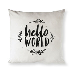 Hello World with Vines Baby Cotton Canvas Pillow Cover - The Cotton and Canvas Co.