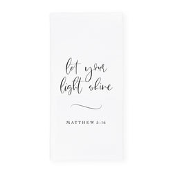 Let Your Light Shine, Matthew 5:16 Cotton Canvas Scripture, Bible Kitchen Tea Towel - The Cotton and Canvas Co.