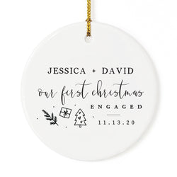 Our First Christmas Engaged with Name and Date Christmas Ornament