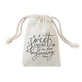 A Sweet Ending to a New Beginning Cotton Canvas Wedding Favor Bags, 6-Pack - The Cotton and Canvas Co.