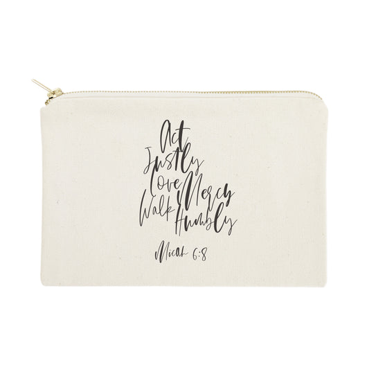 Act Justly Love Mercy Walk Humbly - Micah 6:8 Cotton Canvas Cosmetic Bag - The Cotton and Canvas Co.